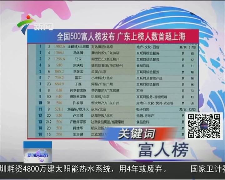 全国500富人榜发布 广东上榜人数首超上海