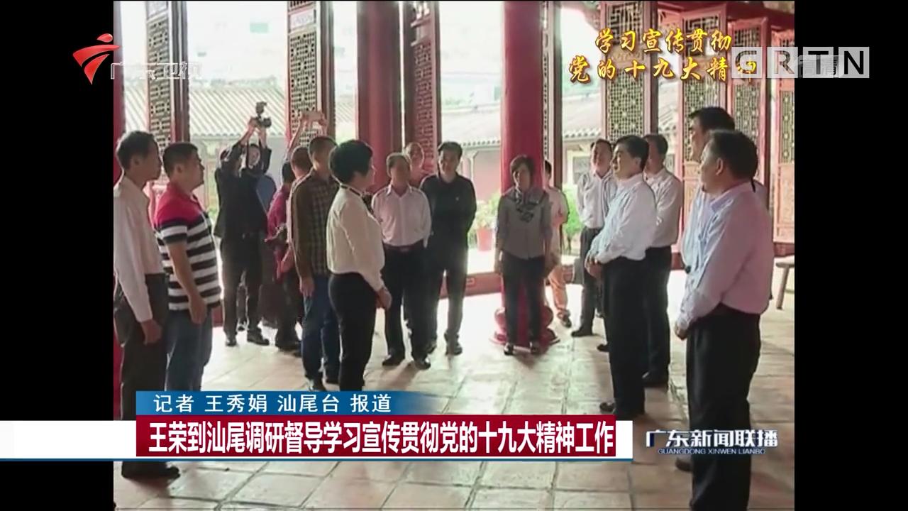 王荣到汕尾调研督导学习宣传贯彻党的十九大精神工作