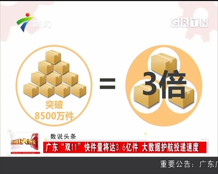 """广东:""""双11""""快件量将达3.6亿件 大数据护航投递速度"""