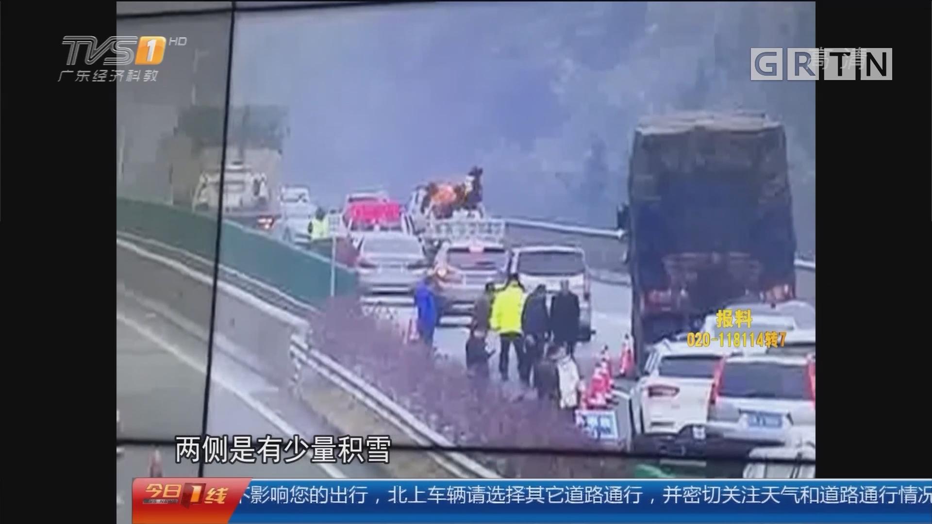 清远连州:二广高速遭风雪袭击 交通一度受阻
