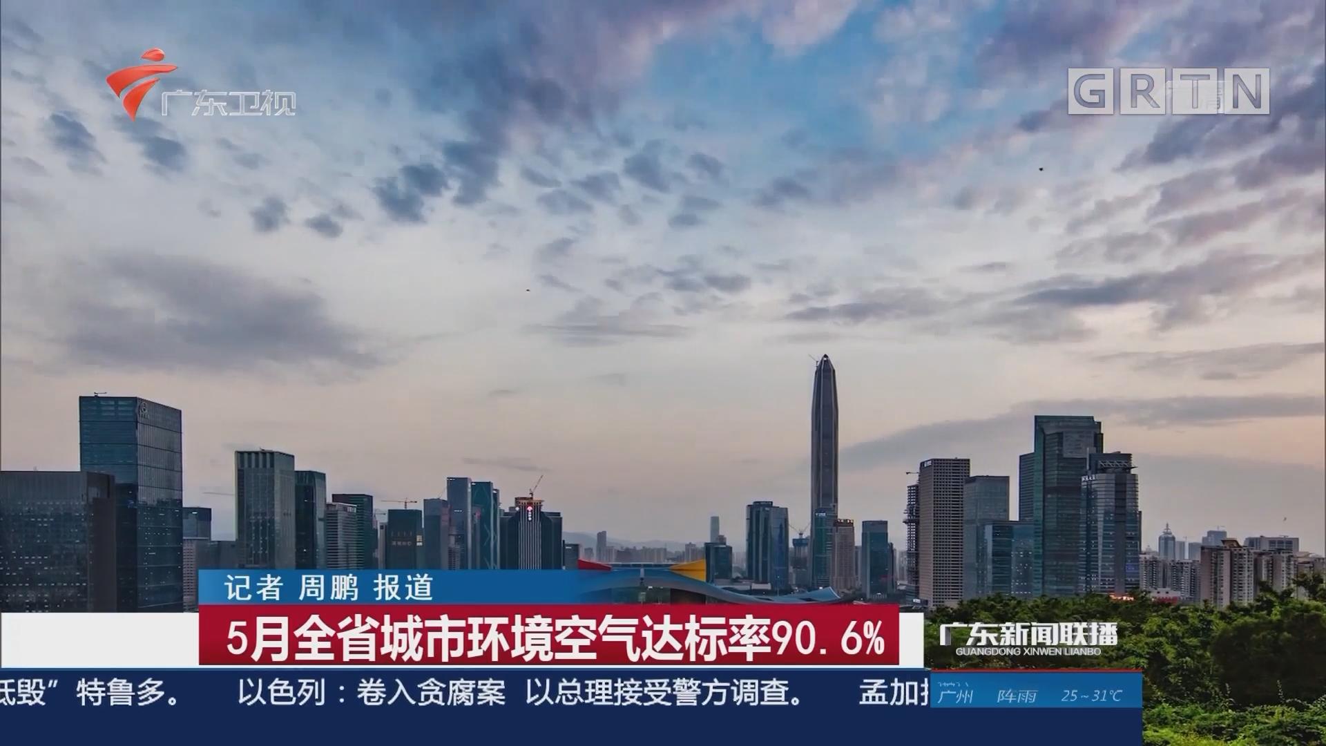 5月全省城市环境空气达标率90.6%