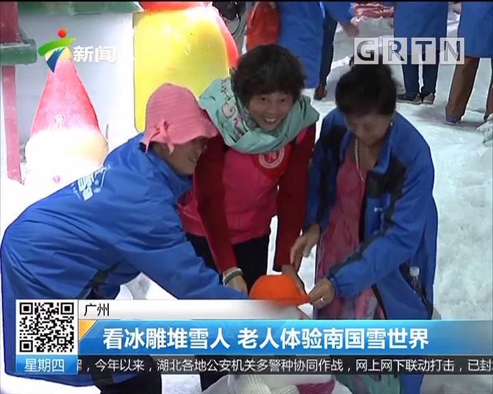 广州:看冰雕堆雪人 老人体验南国雪世界