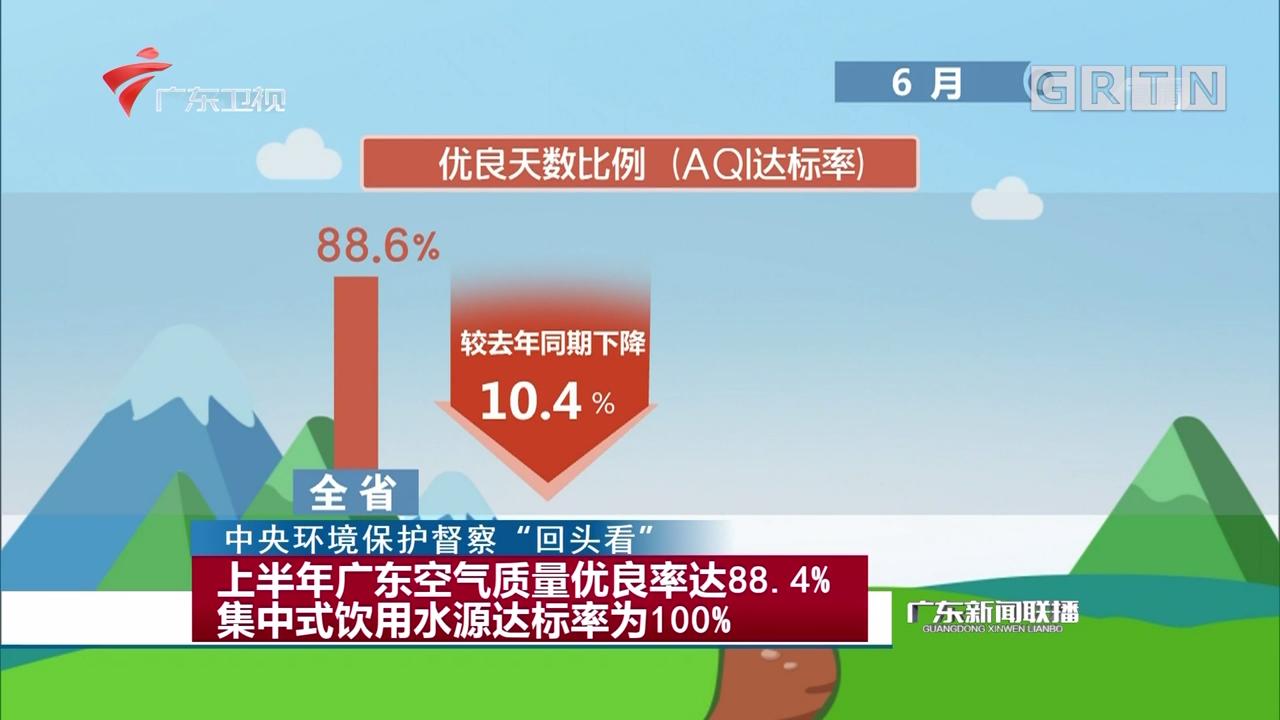 上半年广东空气质量优良率达88.4% 集中式饮用水源达标率为100%