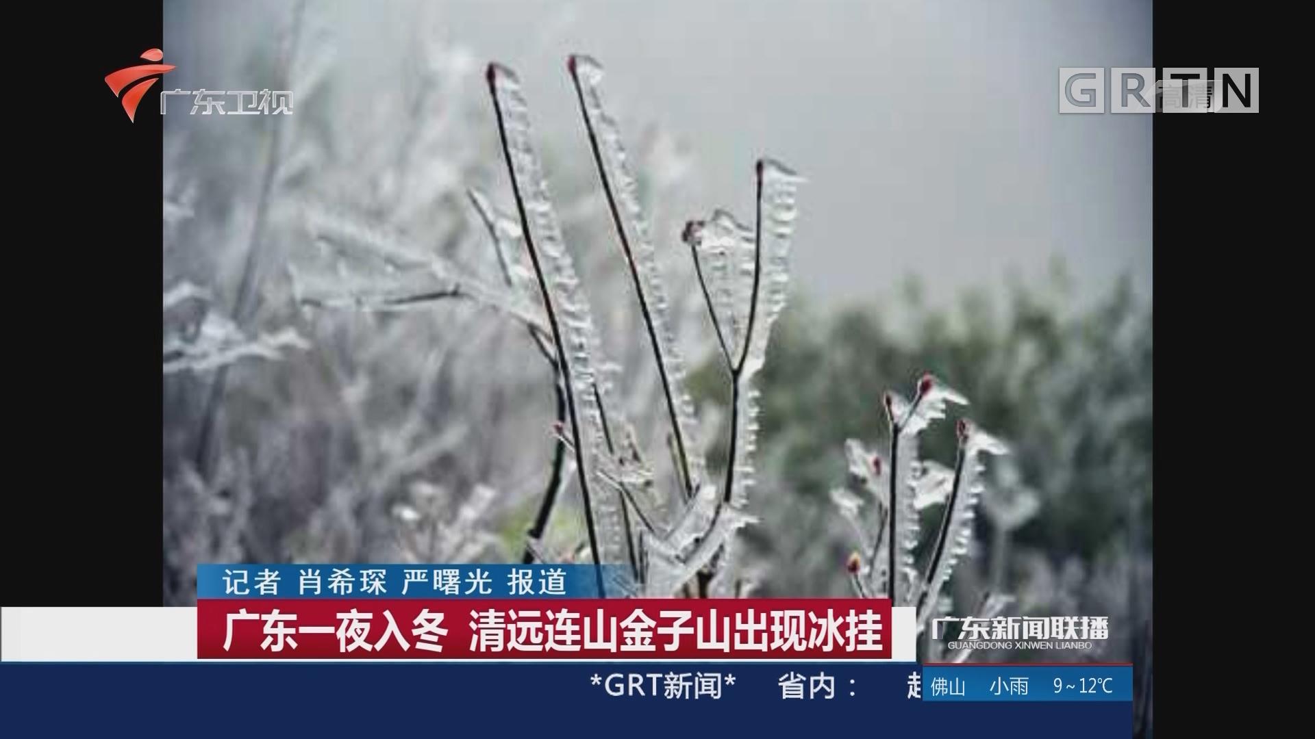 广东一夜入冬 清远连山金子山出现冰挂