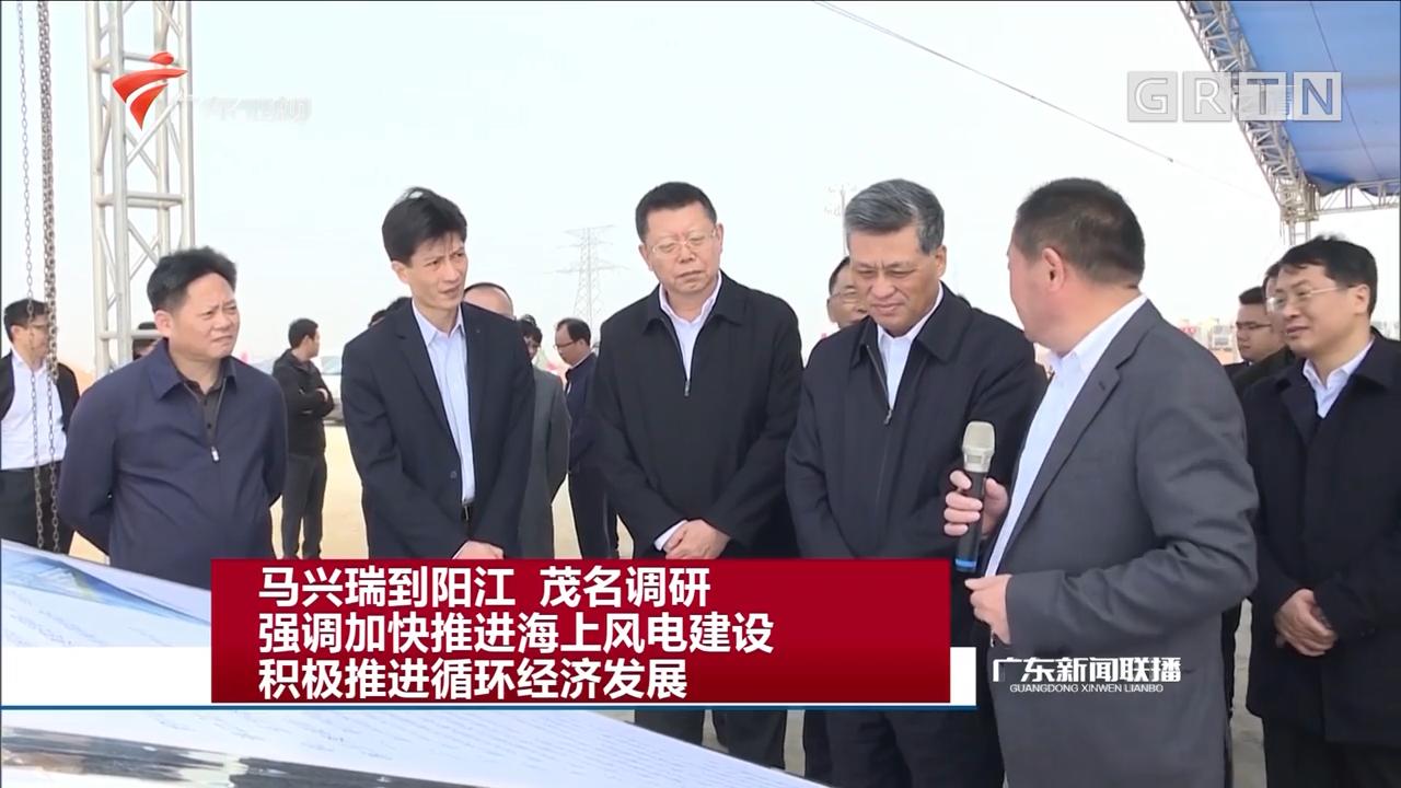 马兴瑞到阳江 茂名调研 强调加快推进海上风电建设 积极推进循环经济发展