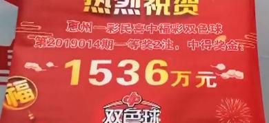 惠州:彩民8元买双色球 博得1536万大奖