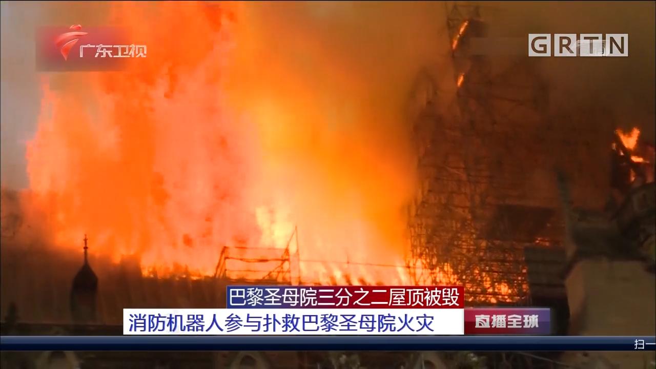 巴黎圣母院三分之二屋顶被毁 消防机器人参与扑救巴黎圣母院火灾