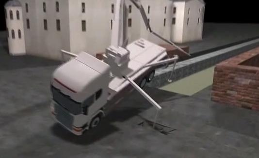 水泥泵车作业时侧翻 传输臂砸中三名工人