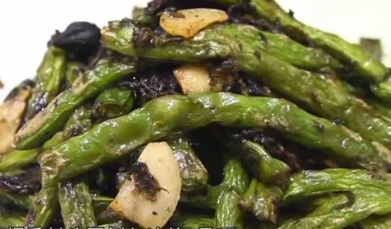 烹饪:榄菜炒四季豆