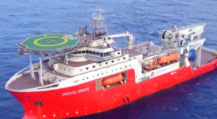 """我国建造最强饱和潜水支持船""""海龙""""号交付"""