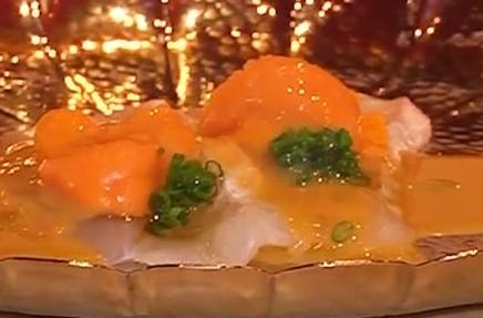 左口鱼配海胆酱刺身、鰤鱼腩刺身