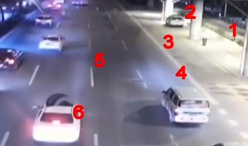 """广州:货车轮胎路上""""撒野"""" 砸中一辆小车"""