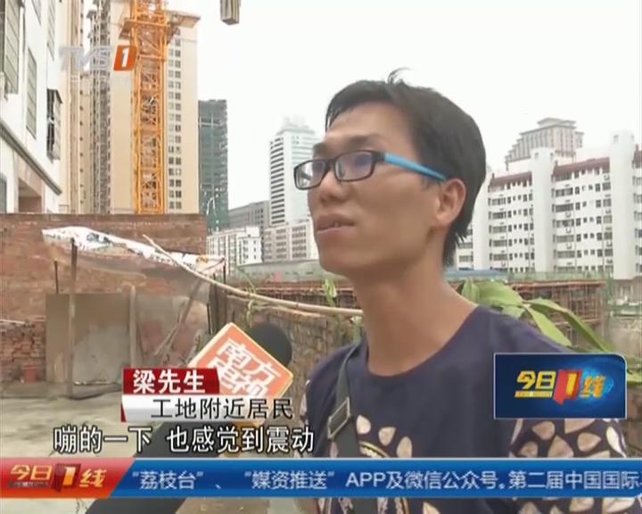 湛江:塔吊失控  数百斤重钢斗撞民房