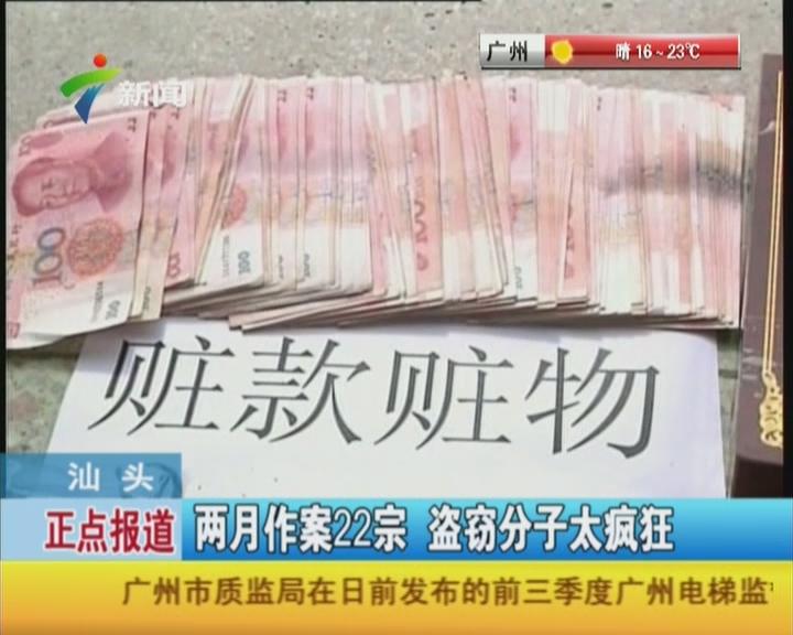 汕头:两月作案22宗  盗窃分子太疯狂