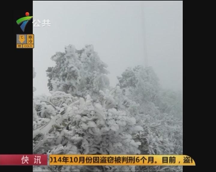 梅州多地积雪 鸿图嶂出现冰雪雾凇奇观