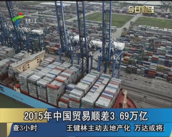 2015年中国贸易顺差3.69万亿