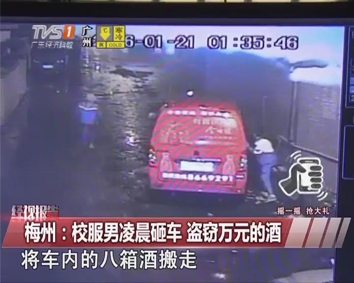 梅州:校服男凌晨砸车 盗窃万元的酒