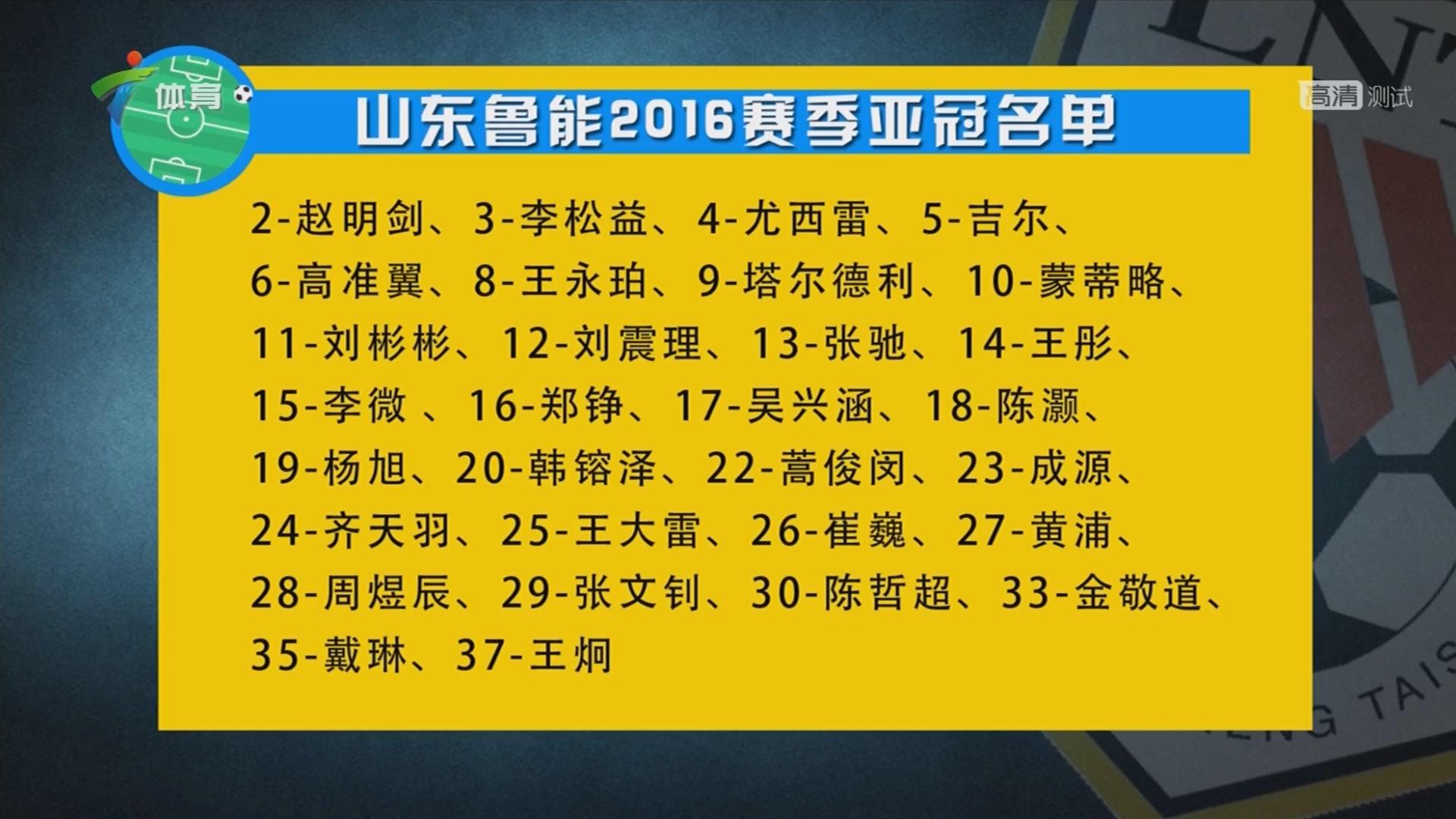 山东鲁能2016赛季亚冠名单