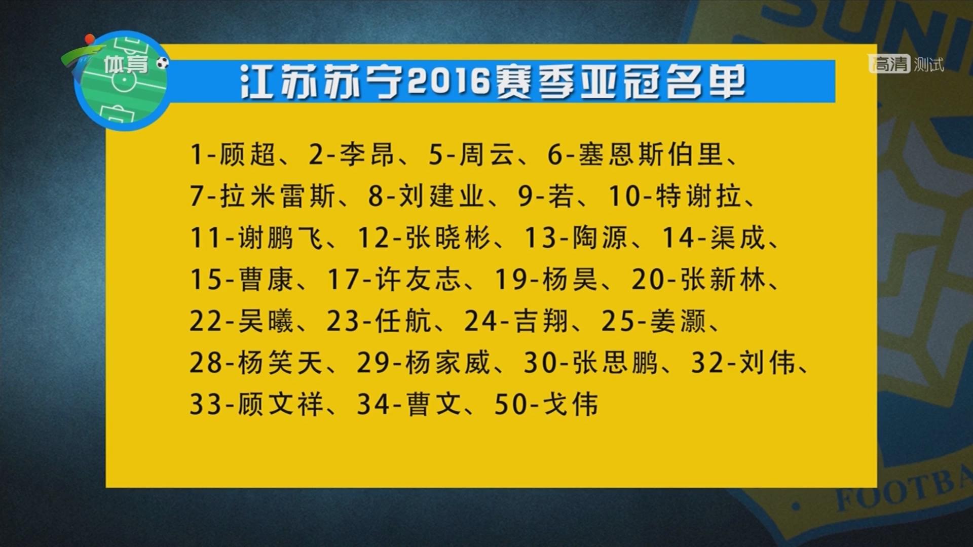 江苏苏宁2016赛季亚冠名单