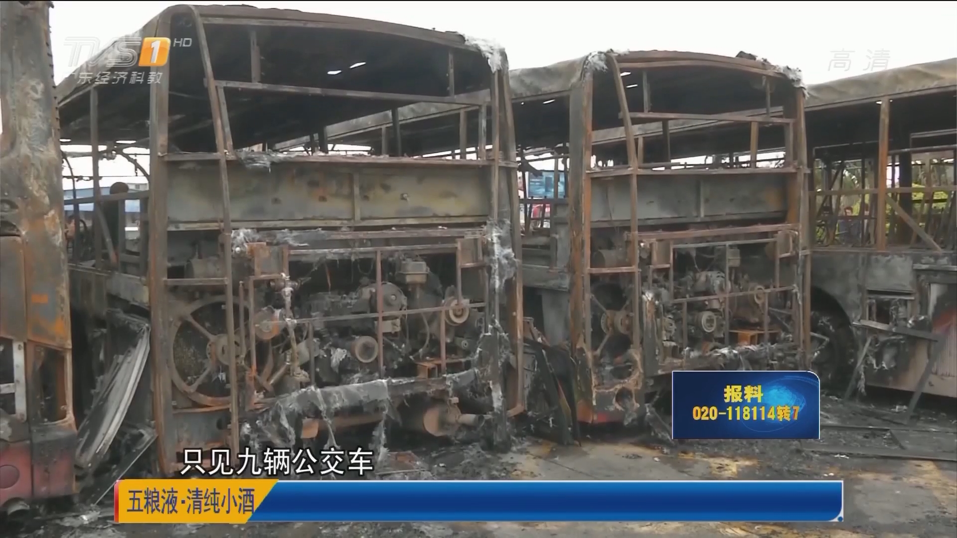 揭阳:凌晨诡异大火 9辆公交被烧毁