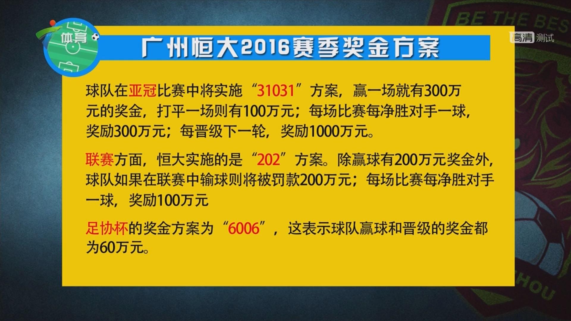 广州恒大2016赛季奖金方案