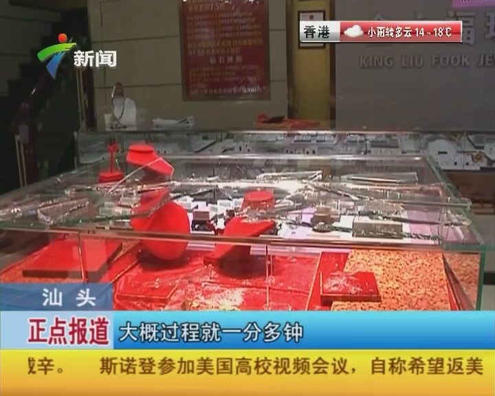 汕头:蒙面歹徒持械抢劫珠宝店
