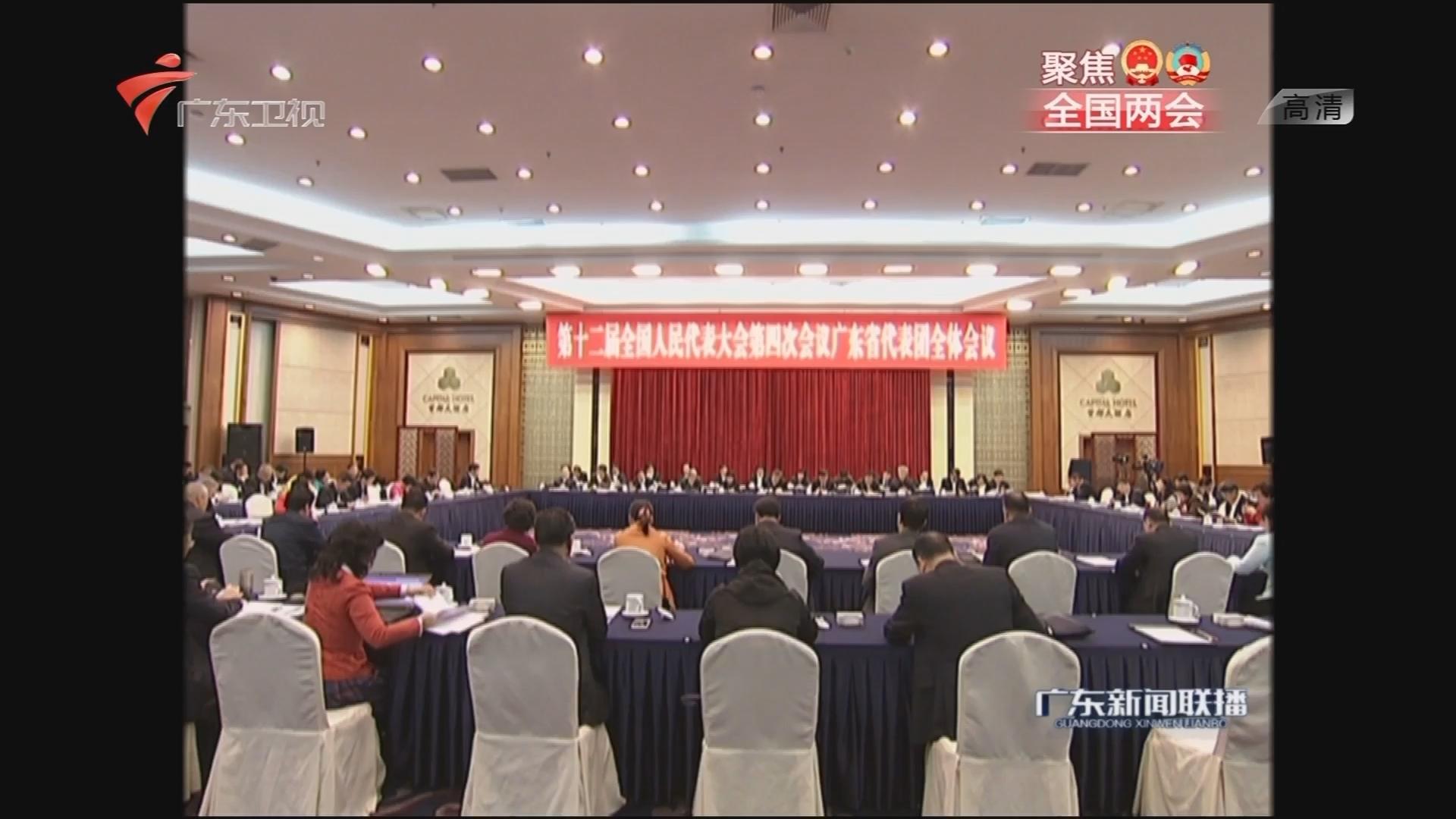 """广东代表团举行全体会议 审查""""十三五""""规划纲要草案"""