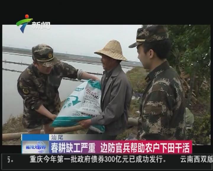 汕尾:春耕缺工严重 边防官兵帮助农户下田干活