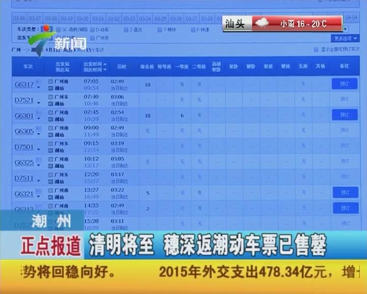 潮州:清明将至 穗深返潮动车票已售罄