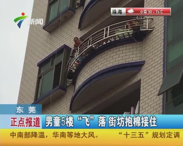 """东莞:男童5楼""""飞""""落街坊抱棉接住"""