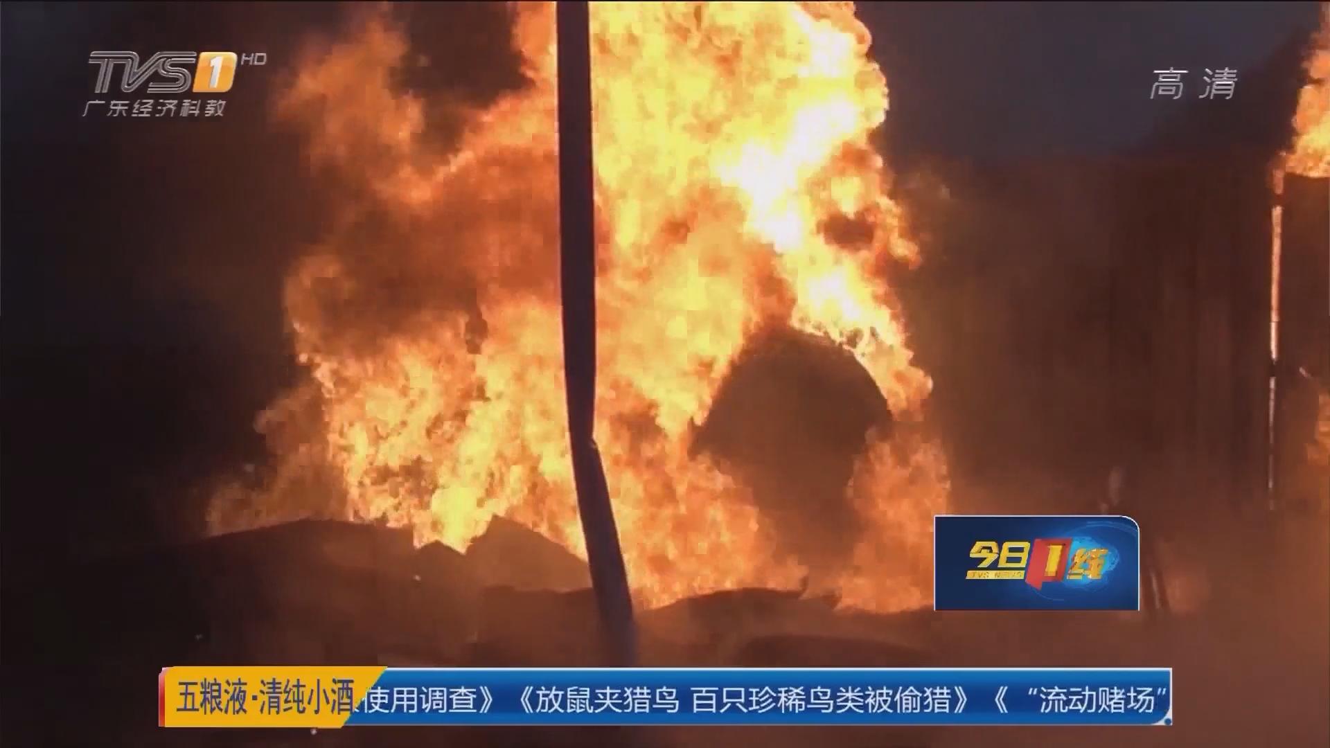 惠州惠阳:小油站油罐着火 消防紧急救援