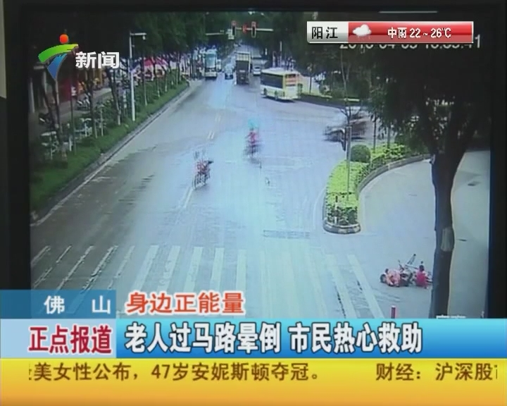 佛山:身边正能量 老人过马路晕倒 市民热心救助