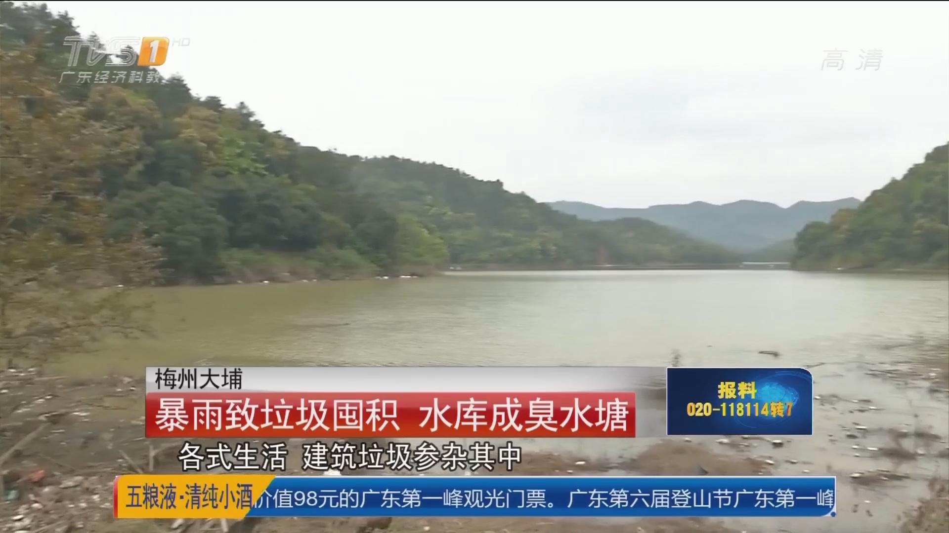 梅州大埔:暴雨致垃圾囤积 水库成臭水塘