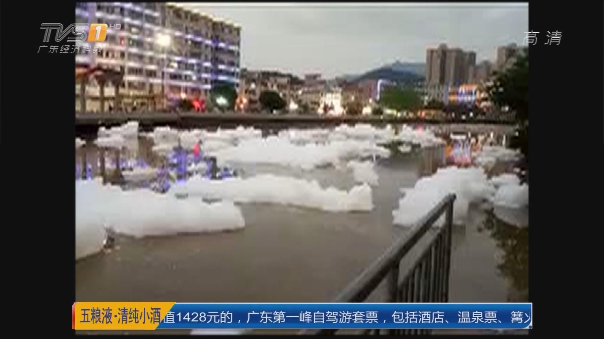 """清远连山:县城景观河上漂满""""雪""""?实为污染物"""