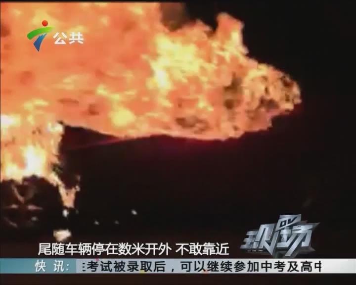 肇庆:西江大桥小车自燃 火苗蹿起三米高