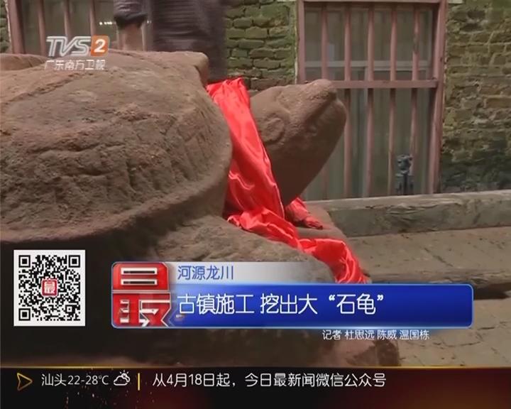 """河源龙川 古镇施工 挖出大""""石龟"""""""