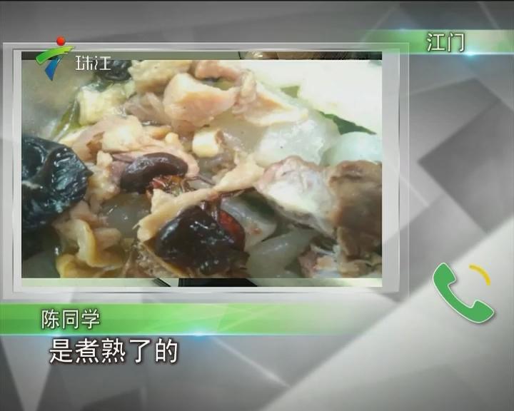 江门:恶心!食堂饭菜里吃出蟑螂