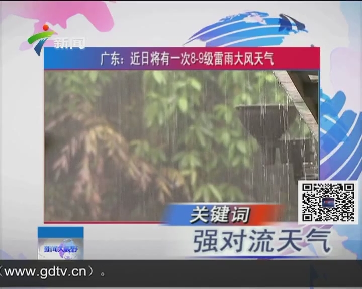 广东:近日将有一次8.9级雷雨大风天气