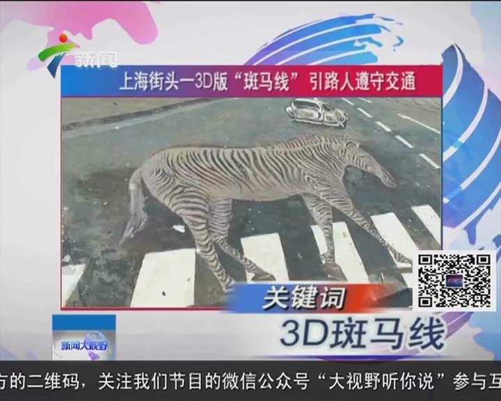 """上海街头一3D版""""斑马线""""引路人遵守交通"""