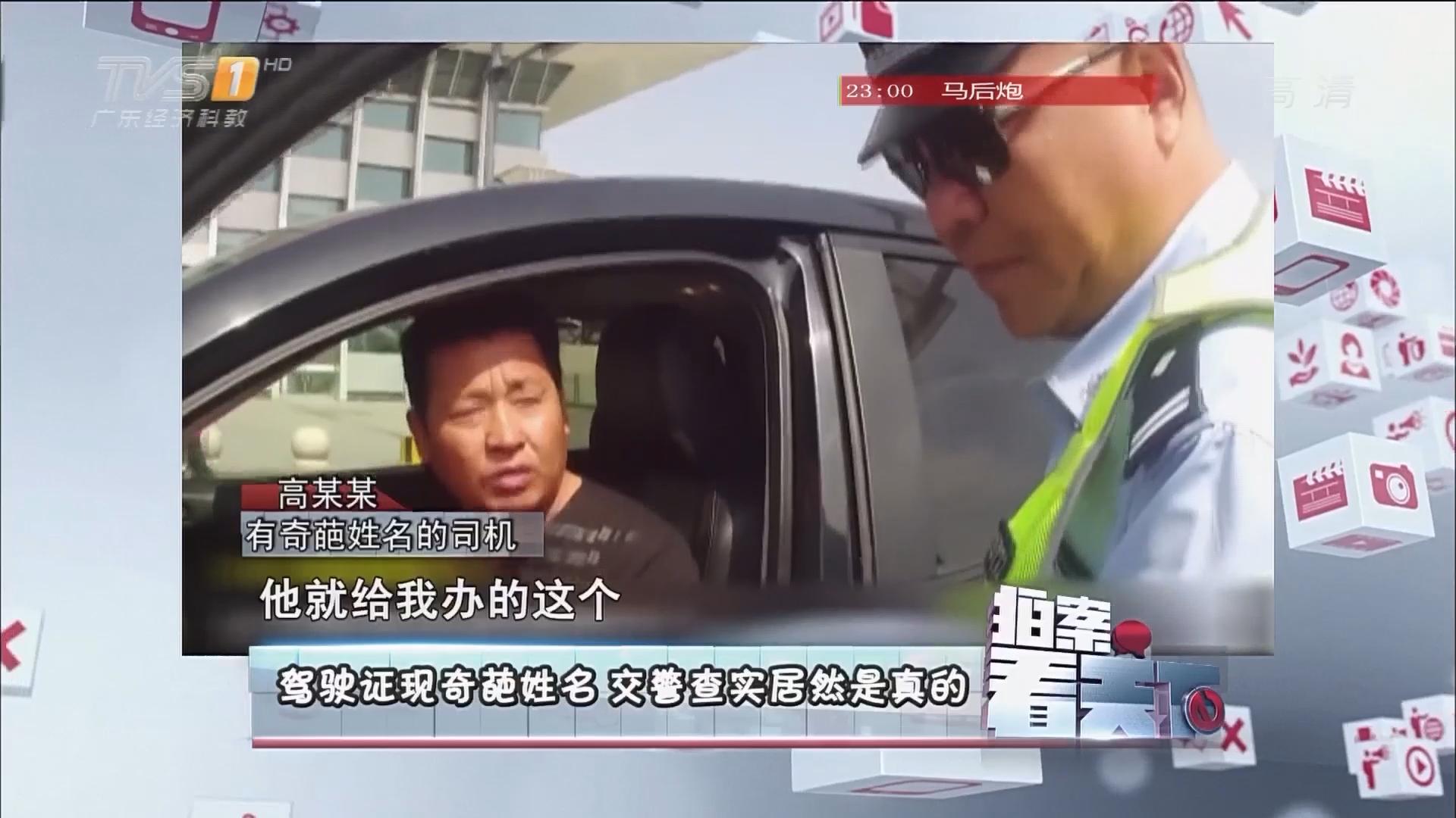驾驶证现奇葩姓名 交警查实居然是真的