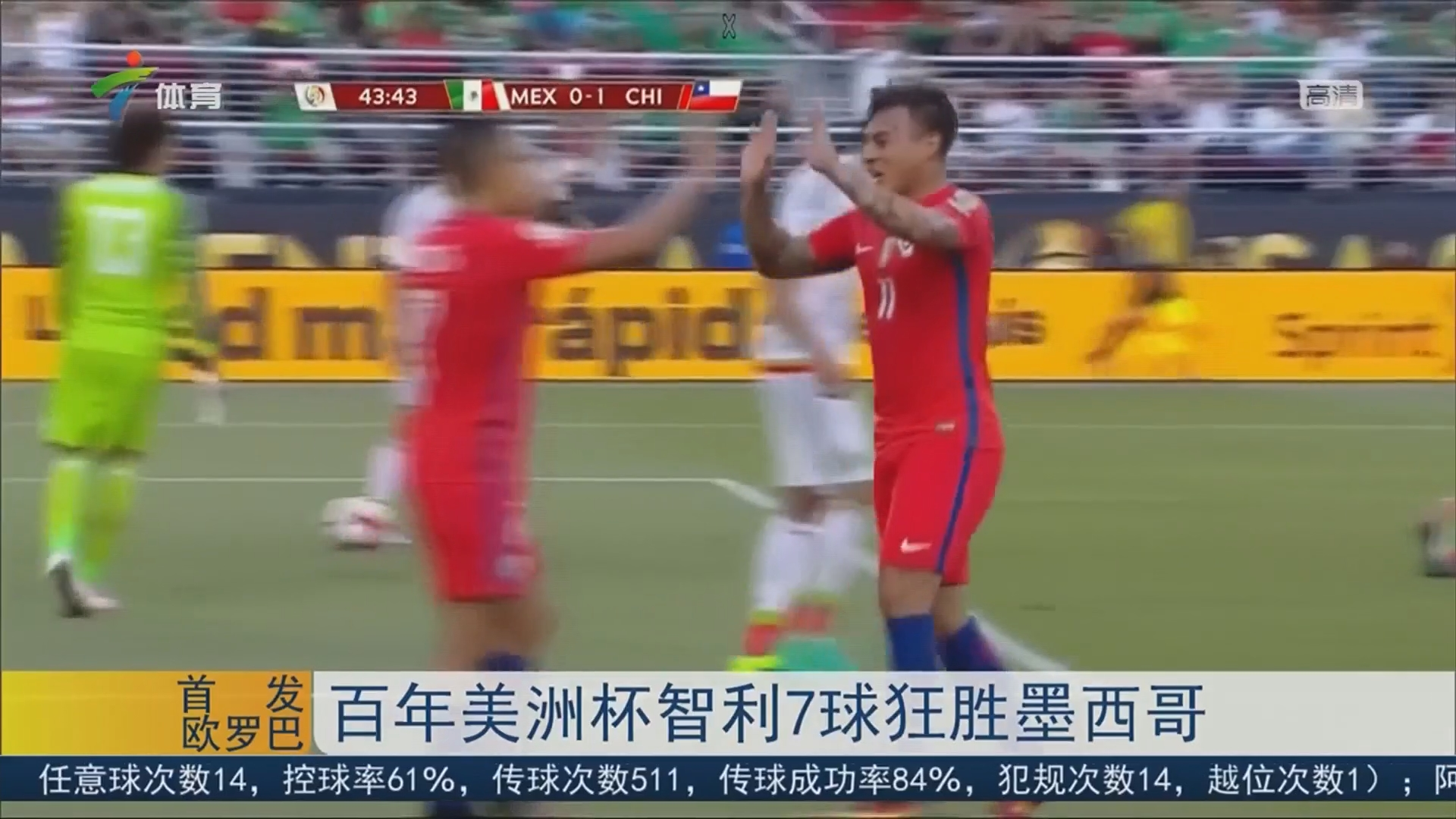 百年美洲杯智利7球狂胜墨西哥