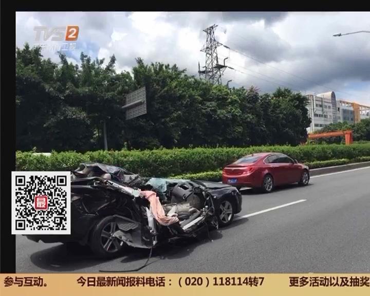 深圳:突飞出来的轿车引发交通安全事故