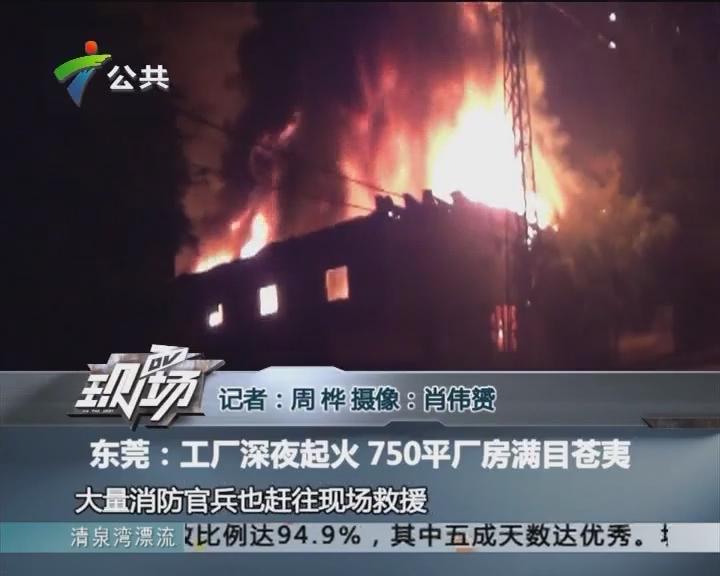 东莞:工厂深夜起火 750平厂房满目苍夷