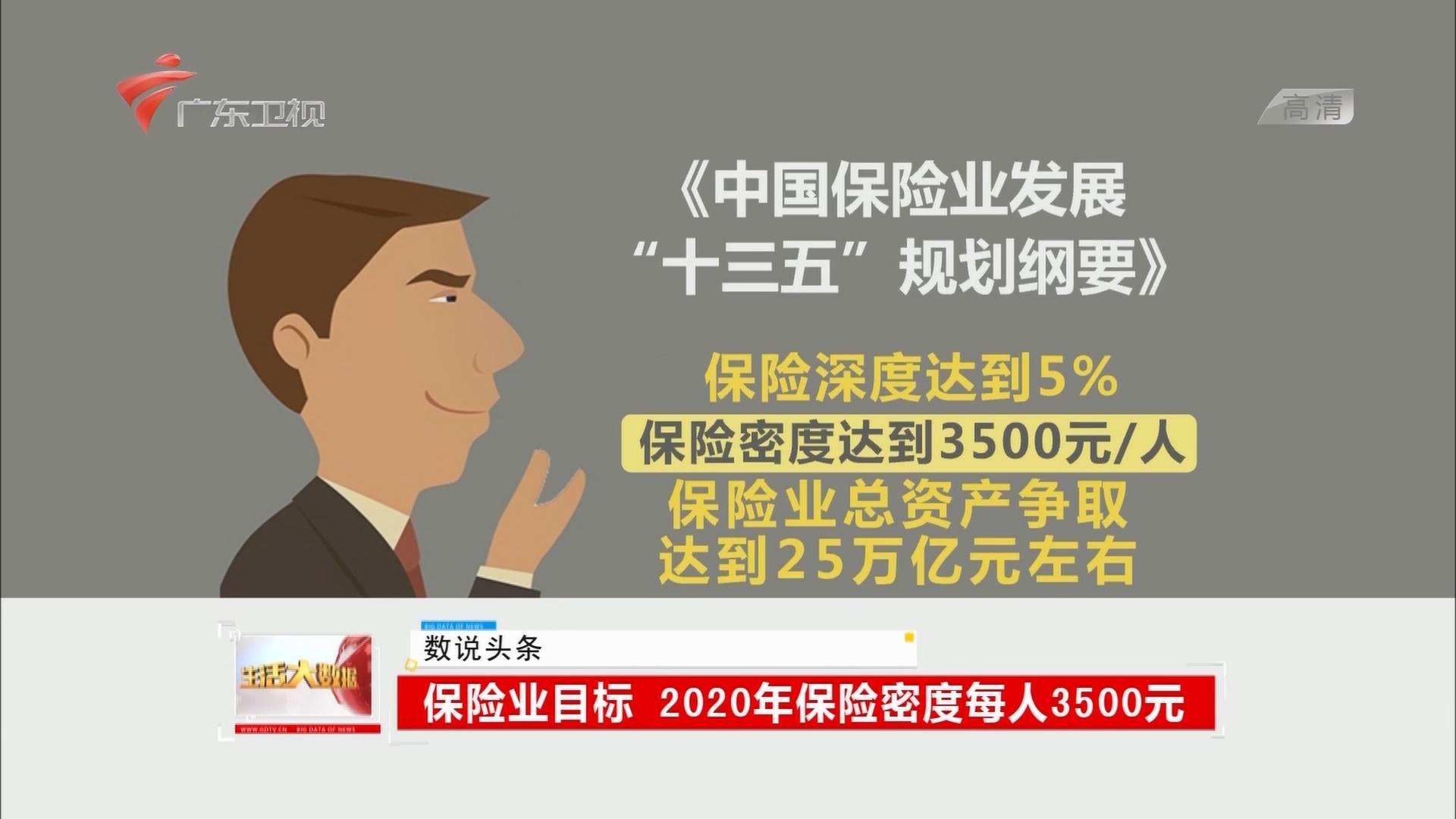 保险业目标:2020年保险密度每人3500元