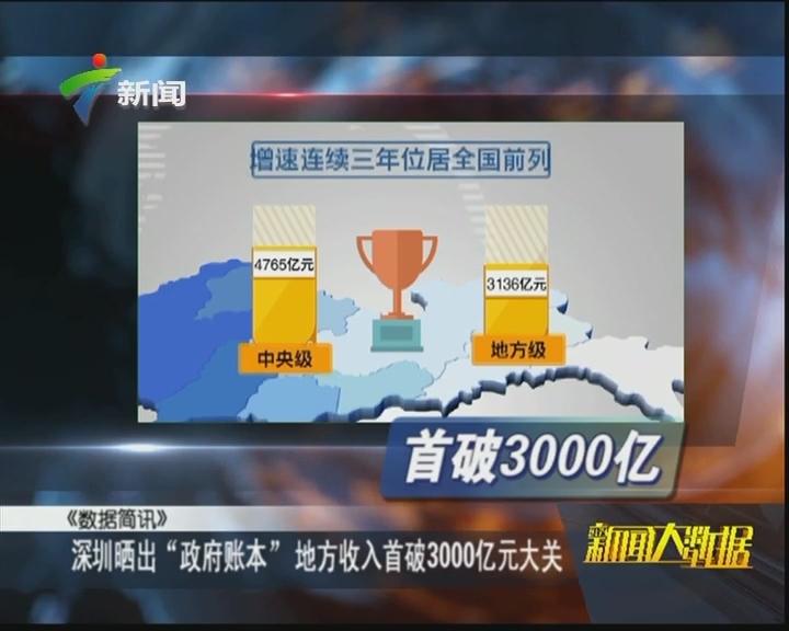 """深圳晒出""""政府账本"""" 地方收入首破3000亿元大关"""
