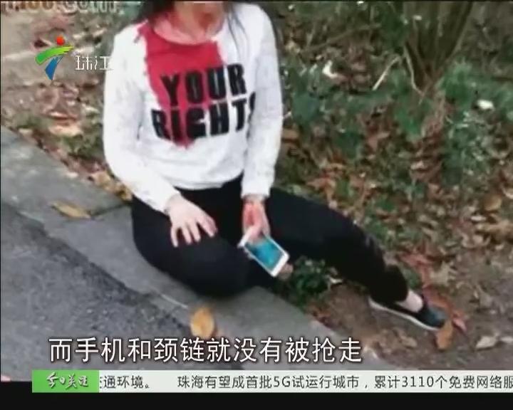 广州大夫山 女子遭勒颈抢劫