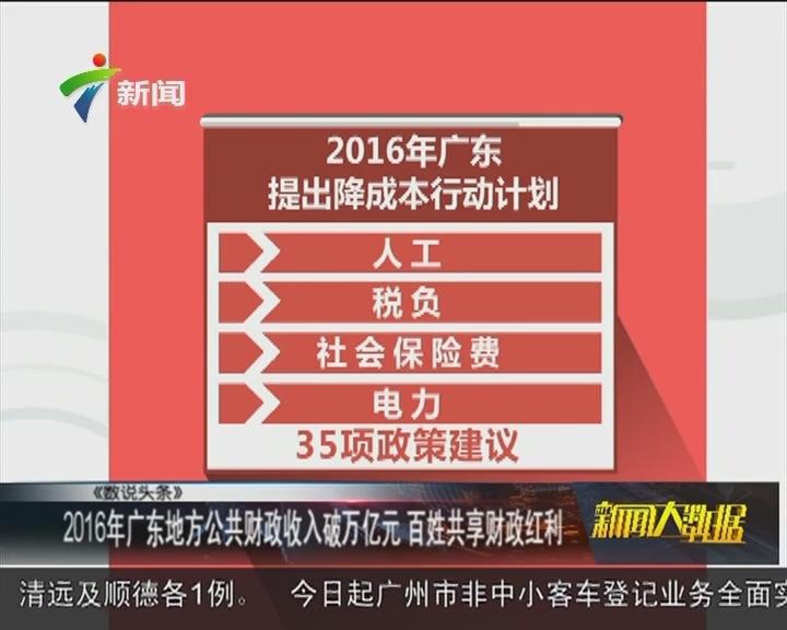 2016年广东地方公共财政收入破万亿元 百姓共享财政红利