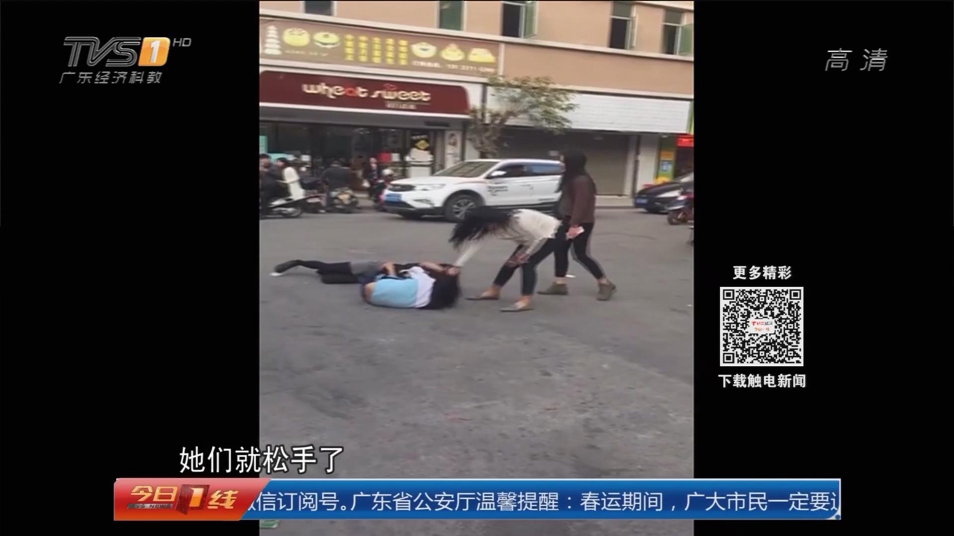 广州从化:四女孩当街火爆互殴 一方身穿校服