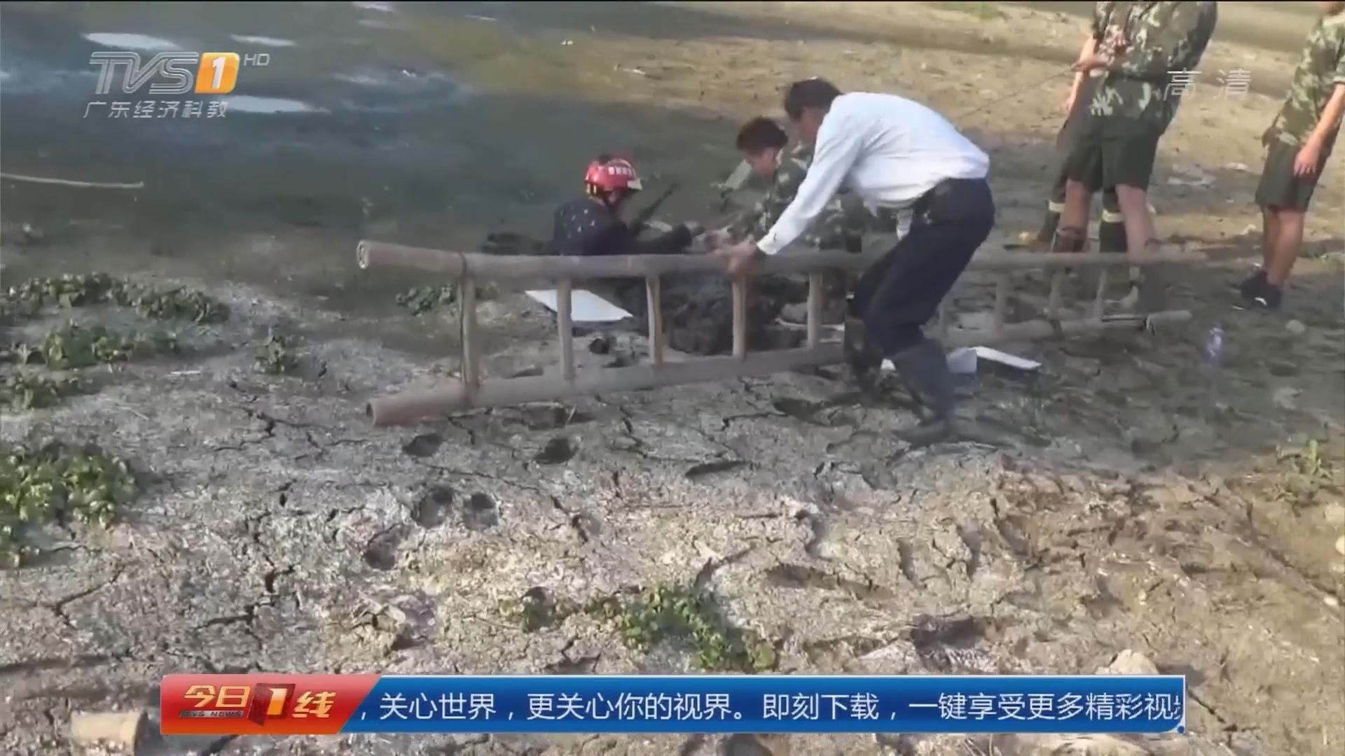 东莞寮步:男子下河床 身陷淤泥难自拔