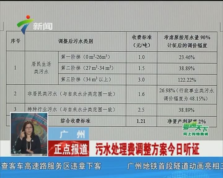 广州:污水处理费调整方案今日听证
